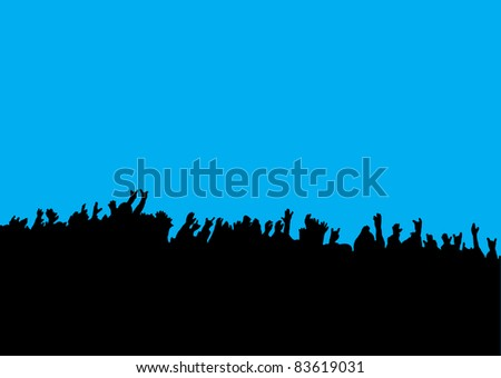 Black silhouette of crowd hands at concert with blue background