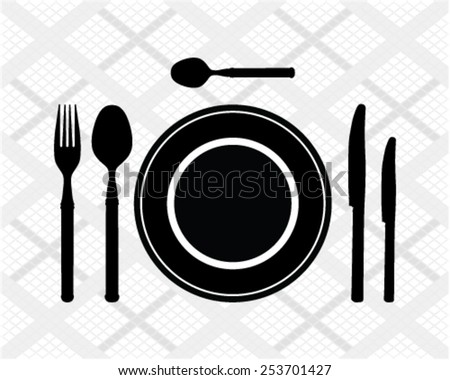 Black silhouette of cutlery, vector