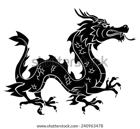 Black Silhouette Of Dragon - stock vector