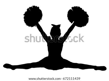 black silhouette girl cheerleaders sports cheerleading stock vector rh shutterstock com cheerleader vector free cheerleading vector drawings