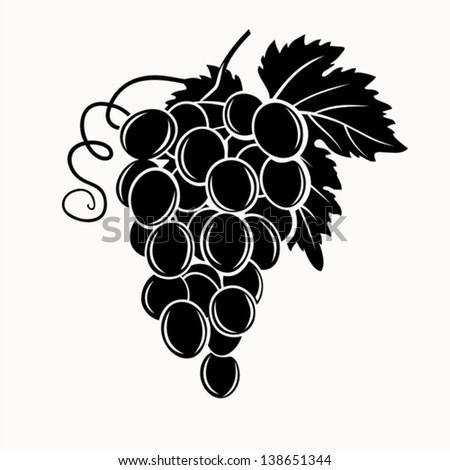 Black silhouette of grapes. Vector illustration. - stock vector
