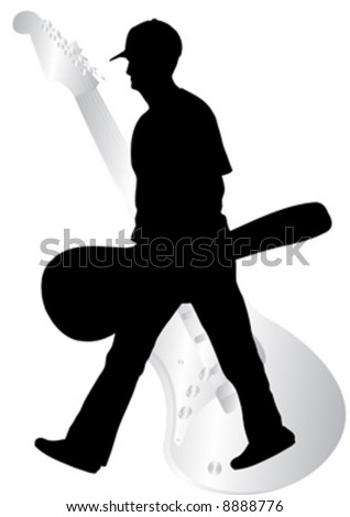 black silhouette of  guitarist - stock vector