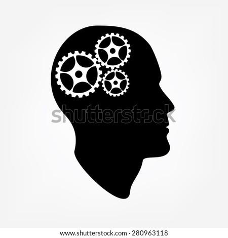 Black silhouette of head brain vector illustration, creative brain, brain icon, brain gears - stock vector