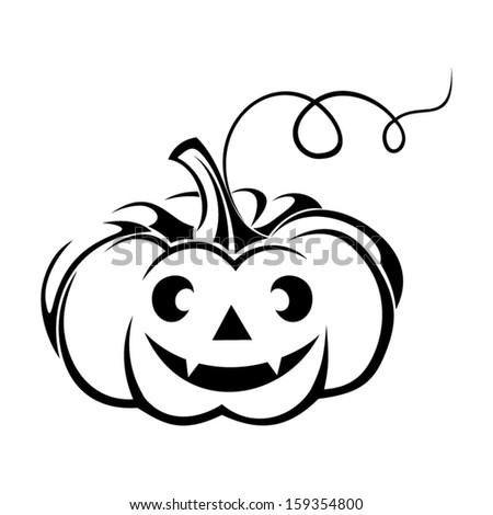 Black silhouette of Jack-O-Lantern (Halloween pumpkin). Vector illustration.    - stock vector