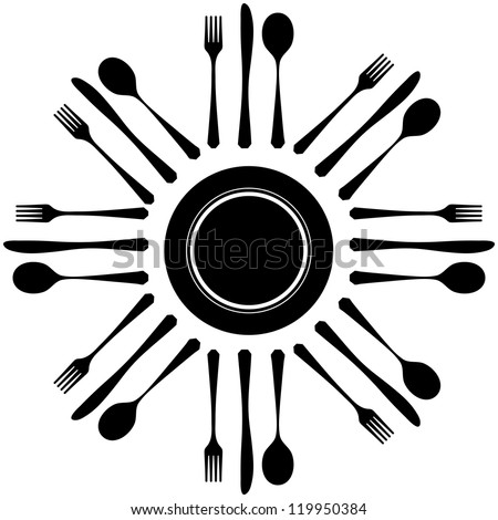 Black silhouette of knife, fork and spoon - stock vector
