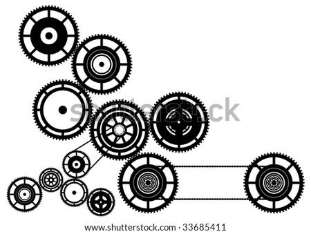Black silhouette of machinery. - stock vector