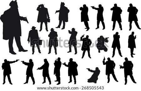Black silhouette of man with gun and and hat