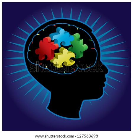 Black silhouette of profiled child with symbolic autism puzzle pieces - stock vector
