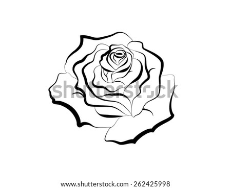 Black silhouette of rose. (Tattoo concept. Vector illustration) - stock vector