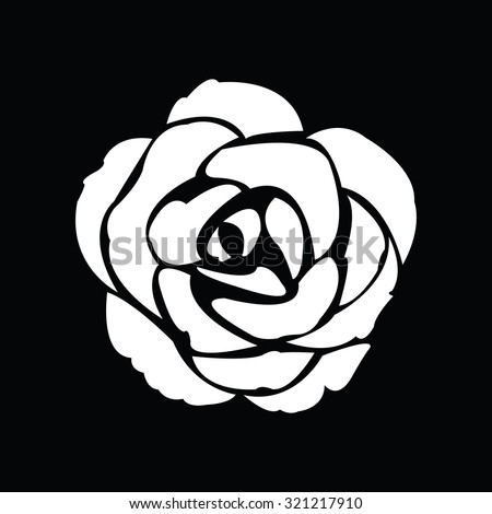 Black silhouette of rose. Vector illustration. - stock vector