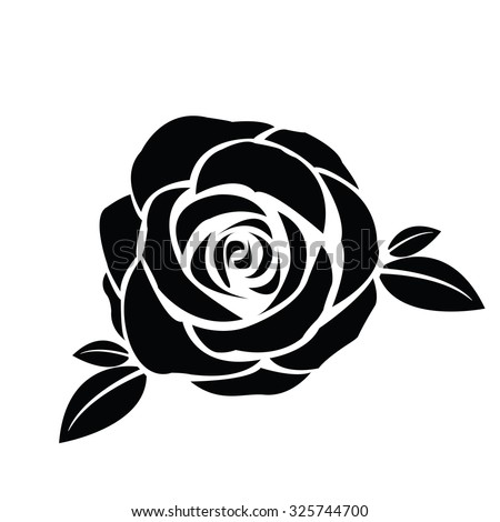 Black silhouette of rose with leaves - stock vector