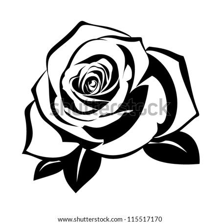 Black silhouette of rose with leaves. Vector illustration. - stock vector