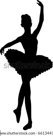 Black silhouette of the young ballerina. Isolated on a white background.