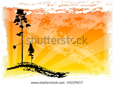 black silhouette of two trees