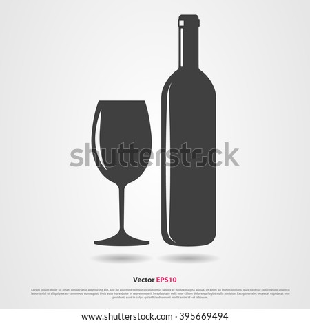 Black silhouette of wine bottle and glass - stock vector