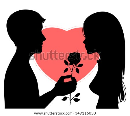 Black silhouette of young couple on background on red heart. Man presents a flower to woman. Vector image - stock vector