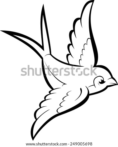 Black silhouette outline flying swallow, isolated on white. Vector tattoo illustration. - stock vector