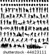 black silhouette people on white background - stock