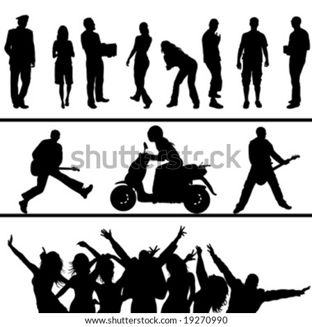black silhouette people on white background - stock vector