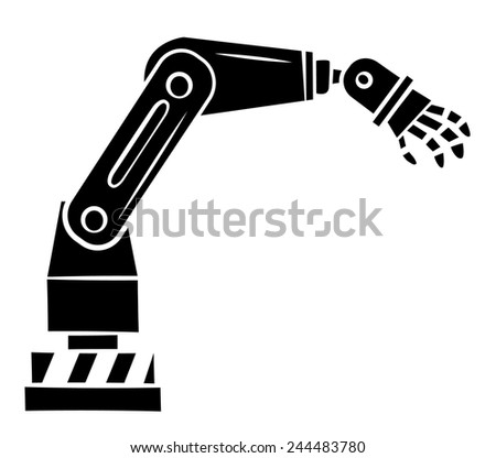 Black Silhouette : robotic hand technology - stock vector