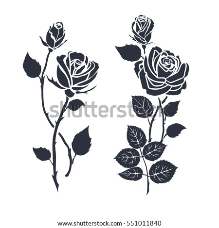 Rose tattoo stock images royalty free images vectors shutterstock black silhouette roses and leaves rose tattoo urmus Image collections