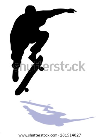 black silhouette skateboarder man , jumps on skateboard, white background