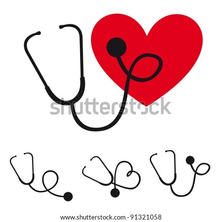 black silhouette stethoscope with heart vector illustration - stock vector