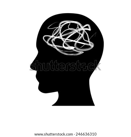 Black silhouette symbolizing mental health  - stock vector