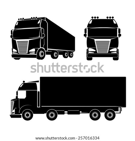 Black silhouette truck logo icon. Car and cargo and cabin. Vector illustration - stock vector
