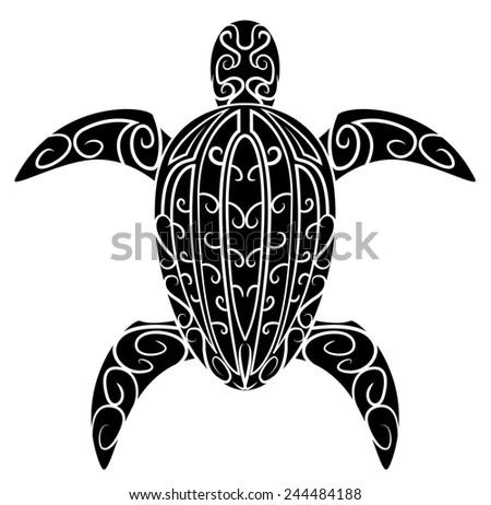 Black Silhouette :  Turtle Symbol - stock vector