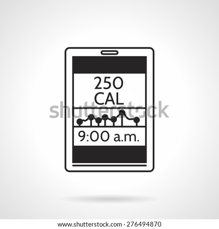 Black silhouette vector icon for calorie counter app with graph and time on white background. - stock vector