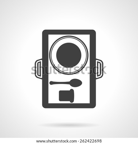 Black silhouette vector icon for food tray with plate, bread and spoon on white background. - stock vector