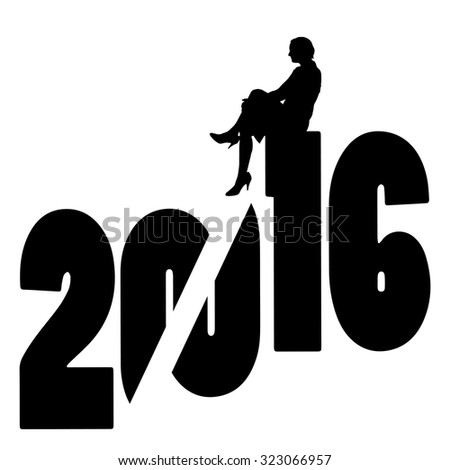black silhouette vector illustration 2016 New Year