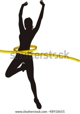 Black silhouette Woman with Yellow Metre - stock vector