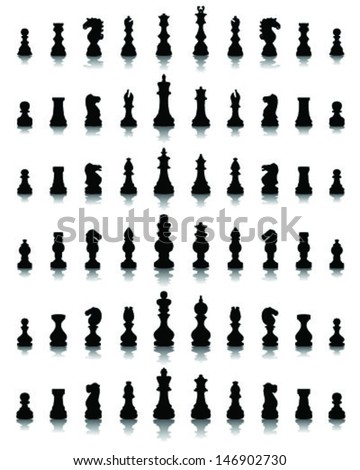 Black silhouettes and shadows chess pieces, vector - stock vector