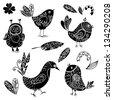 Black silhouettes bird and flower doodle set . vector illustration - stock vector