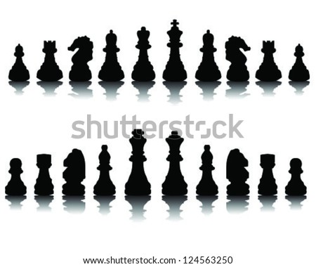 Black silhouettes chessmen-vector - stock vector