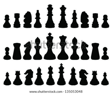 Black silhouettes chessmen 2-vector - stock vector
