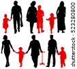 Black silhouettes Family on white background. Vector illustration. - stock vector