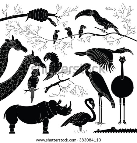 Black silhouettes of african animals and birds. Vector african animals in outline style. Each animals and birds are isolated and separately grouped. - stock vector