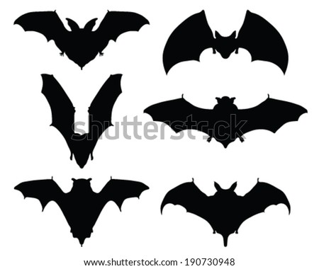 Black silhouettes of bats, vector illustration