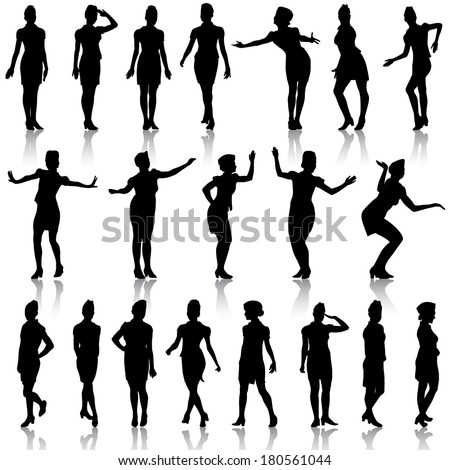 Black silhouettes of beautiful girls in stewardess forage caps on white background. Vector illustration.