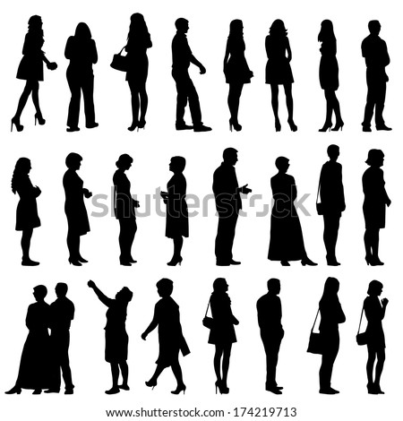 Black silhouettes of beautiful mans and womans on white background. Vector illustration.