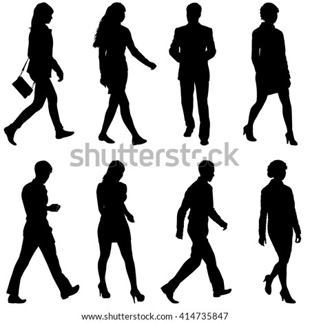 Black Silhouettes Of Beautiful Mans And Womans On White Background Vector Illustration