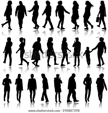 Black silhouettes of beautiful men and women on white background. Vector illustration.