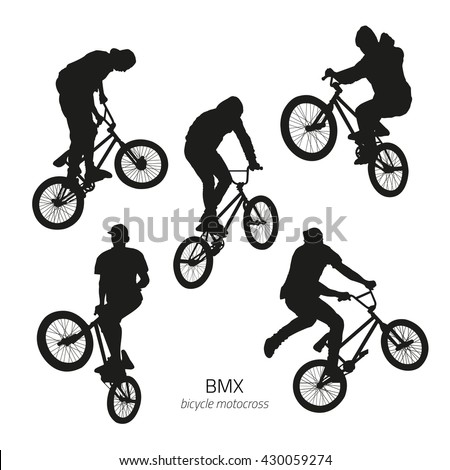 Black silhouettes of bmx riders jumping on a white background - stock vector
