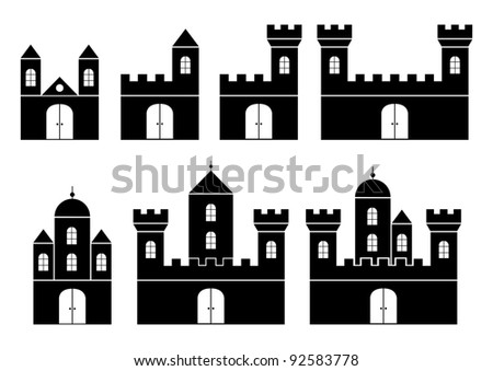 Black silhouettes of castles - stock vector