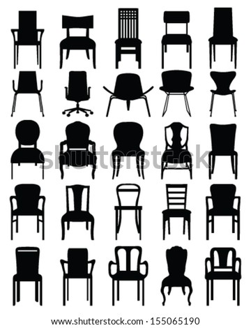 Black silhouettes of chairs,  vector - stock vector