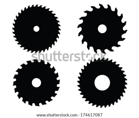 table saw blade vector. black silhouettes of circular saw blades, vector illustration table blade :