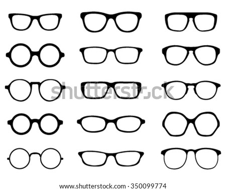 Black silhouettes of different eyeglasses, vector - stock vector